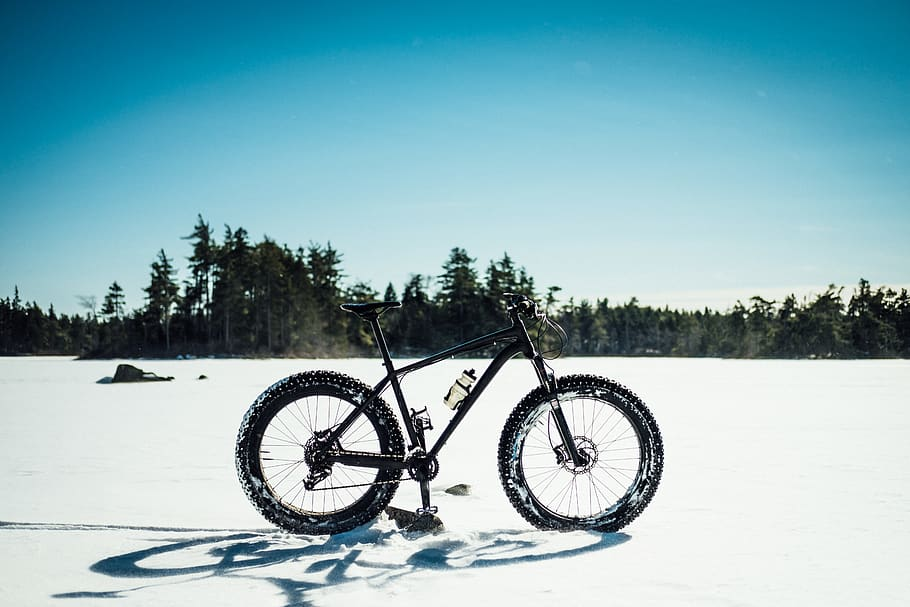 A fat bike in the snow