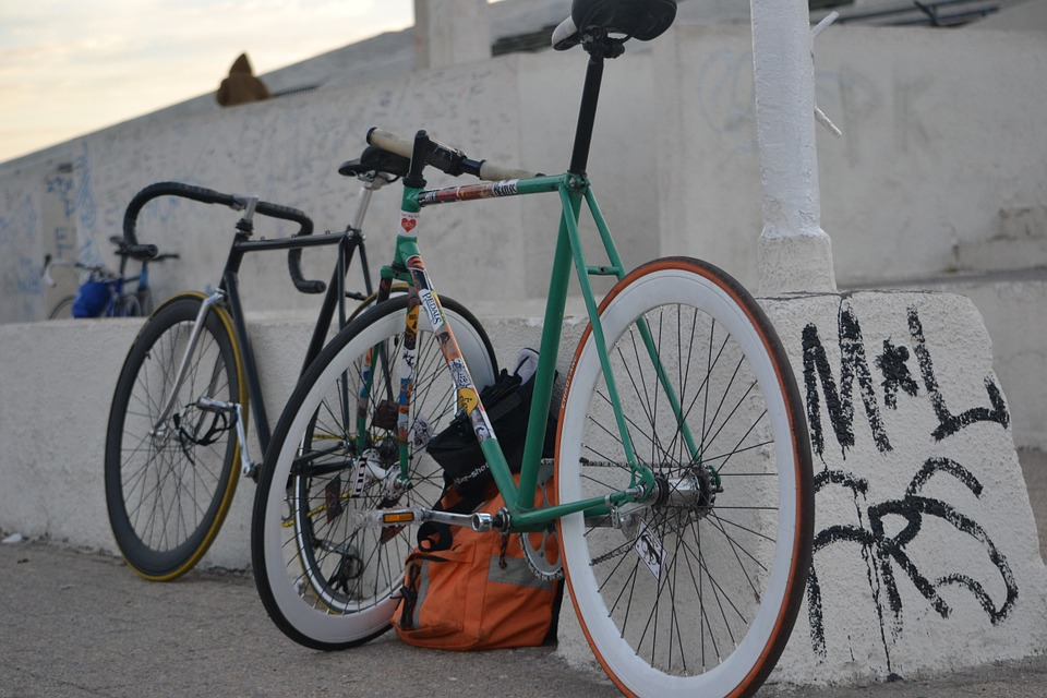 Two fixed gear bikes