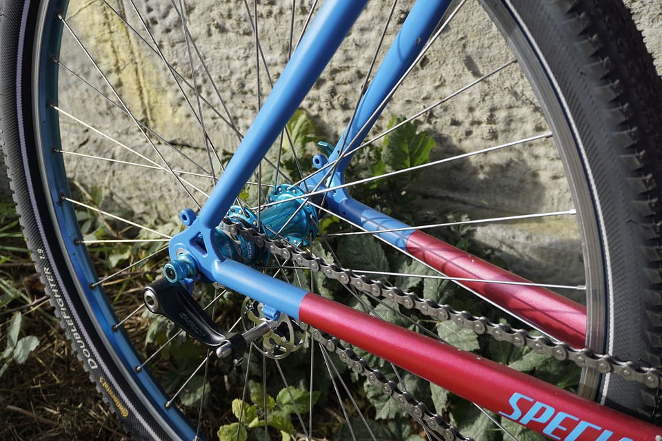 A single speed bike with a dropout mounted chain tensioner